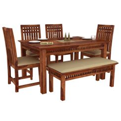 Adolph 6 Seater Dining Set With Bench (Teak Finish)