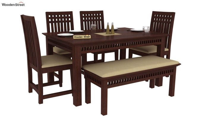 Adolph 6 Seater Dining Set With Bench (Walnut Finish)-1