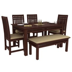 Adolph 6 Seater Dining Set With Bench (Walnut Finish)