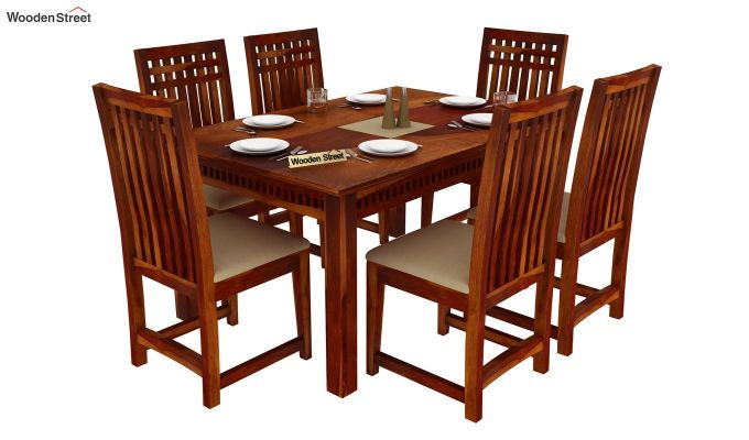 Adolph 6 Seater Dining Set (Honey Finish)-2