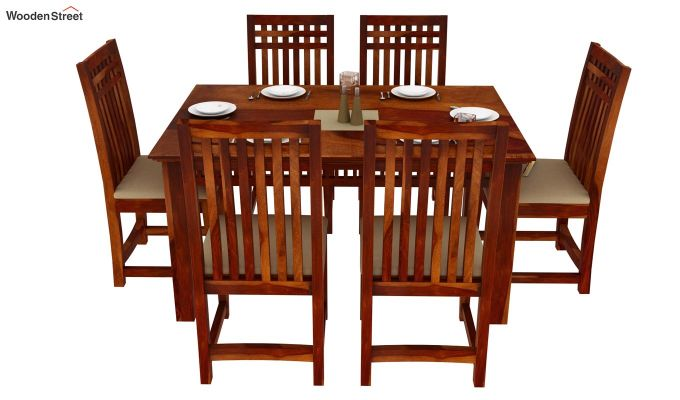 Adolph 6 Seater Dining Set (Honey Finish)-3