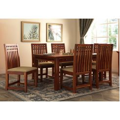 Adolph 6 Seater Dining Set (Honey Finish)