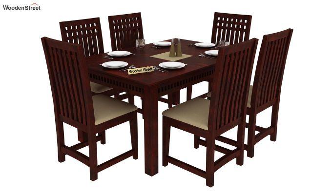 Adolph 6 Seater Dining Set (Mahogany Finish)-1