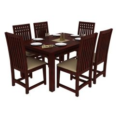 Adolph 6 Seater Dining Set (Mahogany Finish)