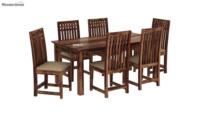 Adolph 6 Seater Dining Set (Teak Finish)-2