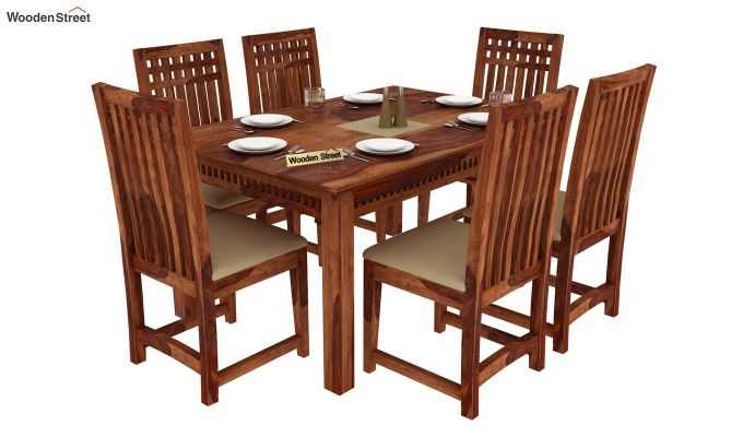 Adolph 6 Seater Dining Set (Teak Finish)-1