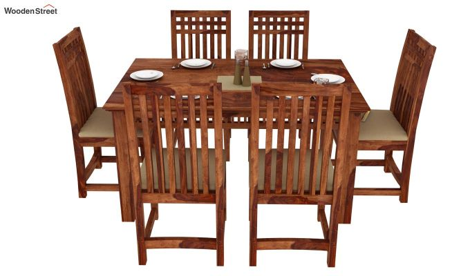Adolph 6 Seater Dining Set (Teak Finish)-2