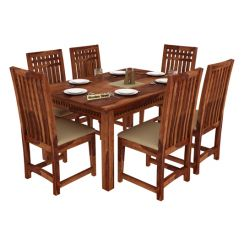 Adolph 6 Seater Dining Set (Teak Finish)