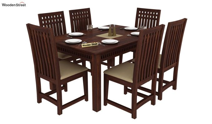 Adolph 6 Seater Dining Set (Walnut Finish)-1