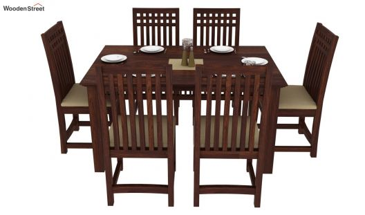 Buy Adolph 6 Seater Dining Set Walnut Finish Online In