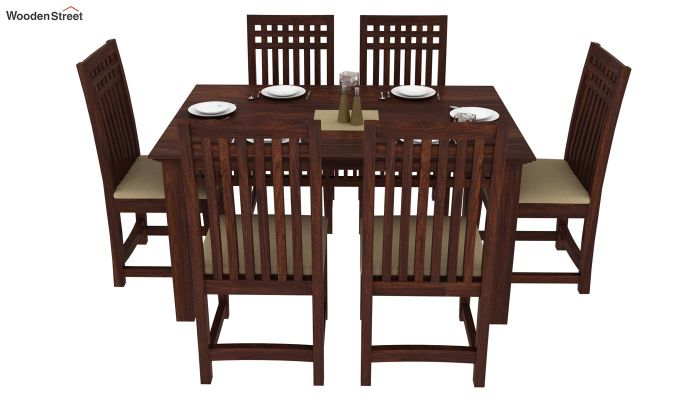 Adolph 6 Seater Dining Set (Walnut Finish)-2