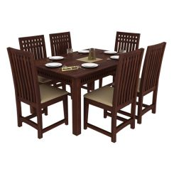 Adolph 6 Seater Dining Set (Walnut Finish)