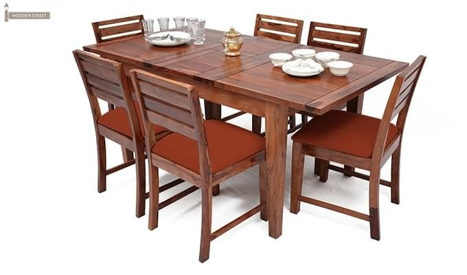 Advin 6 Seater Extendable Dining Set (Orange, Teak Finish)-1