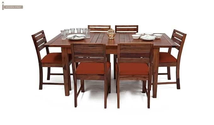 Advin 6 Seater Extendable Dining Set (Orange, Teak Finish)-2