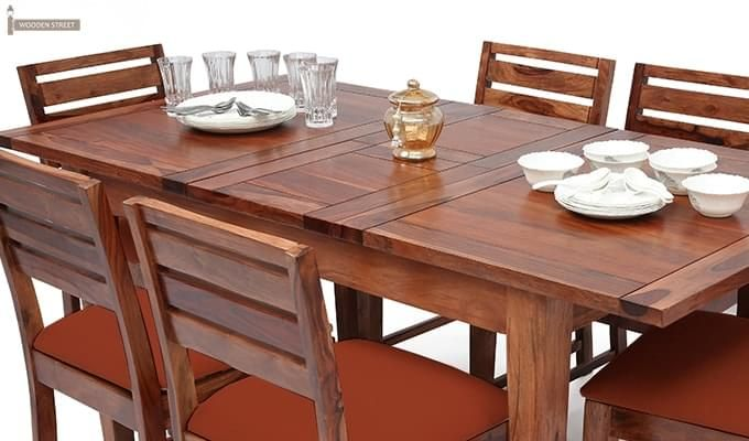 Advin 6 Seater Extendable Dining Set (Orange, Teak Finish)-8