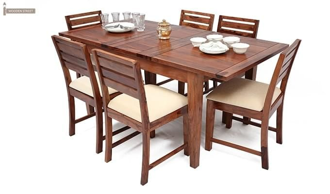 Advin 6 Seater Extendable Dining Set (Cream, Teak Finish)-1