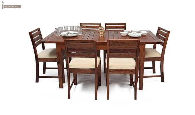 Advin 6 Seater Extendable Dining Set (Cream, Teak Finish)-2