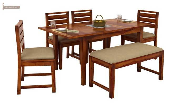 Advin 6 Seater Extendable With Bench Dining Set (Honey Finish)-3