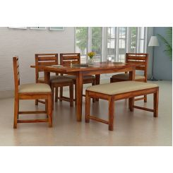 Advin 6 Seater Extendable With Bench Dining Set (Honey Finish)