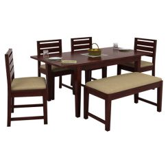 Advin 6 Seater Extendable With Bench Dining Set (Mahogany Finish)