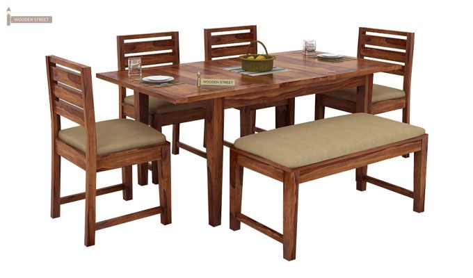 Advin 6 Seater Extendable With Bench Dining Set (Teak Finish)-2