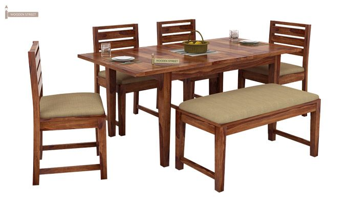 Advin 6 Seater Extendable With Bench Dining Set (Teak Finish)-1