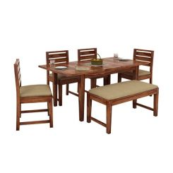 Advin 6 Seater Extendable With Bench Dining Set (Teak Finish)