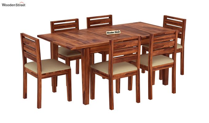 Advin 6 Seater Extendable Dining Set (Honey Finish)-2