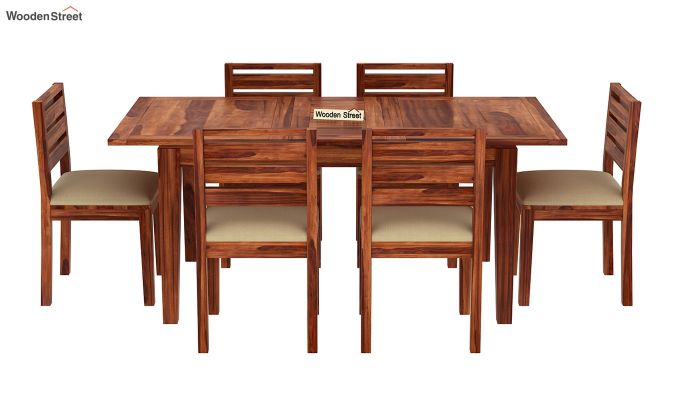 Advin 6 Seater Extendable Dining Set (Honey Finish)-3