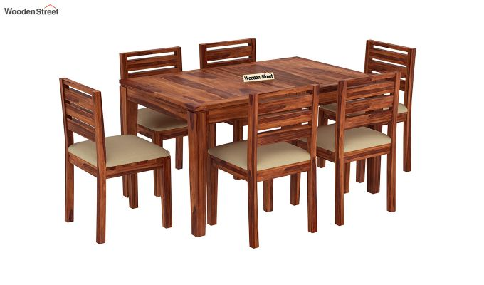 Advin 6 Seater Extendable Dining Set (Honey Finish)-4