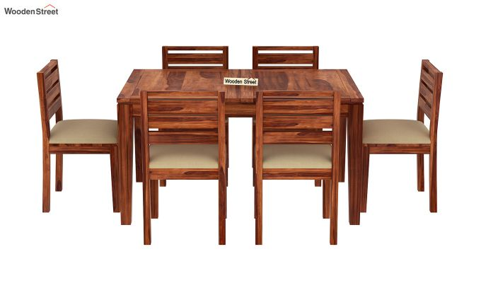 Advin 6 Seater Extendable Dining Set (Honey Finish)-5