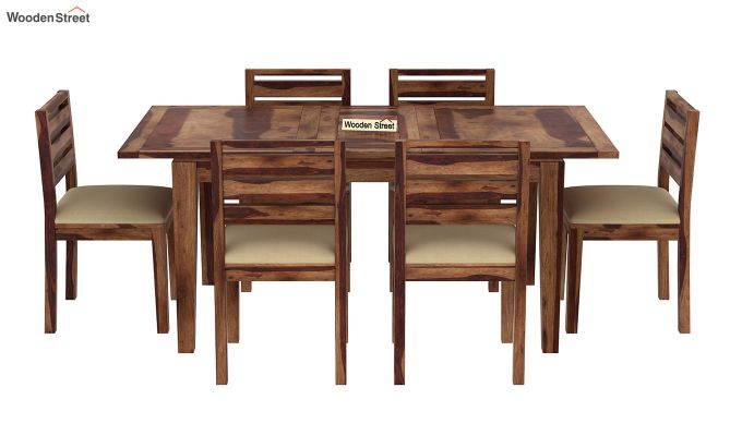 Advin 6 Seater Extendable Dining Set (Teak Finish)-3
