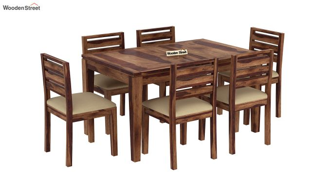 Advin 6 Seater Extendable Dining Set (Teak Finish)-4