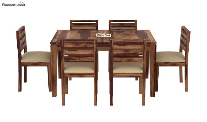 Advin 6 Seater Extendable Dining Set (Teak Finish)-5