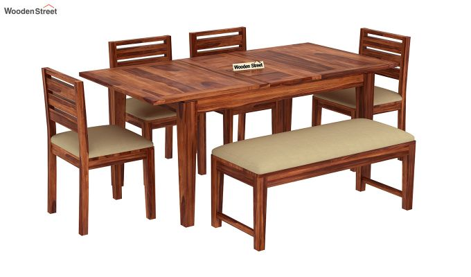 Advin 6 Seater Extendable With Bench Dining Set (Honey Finish)-2