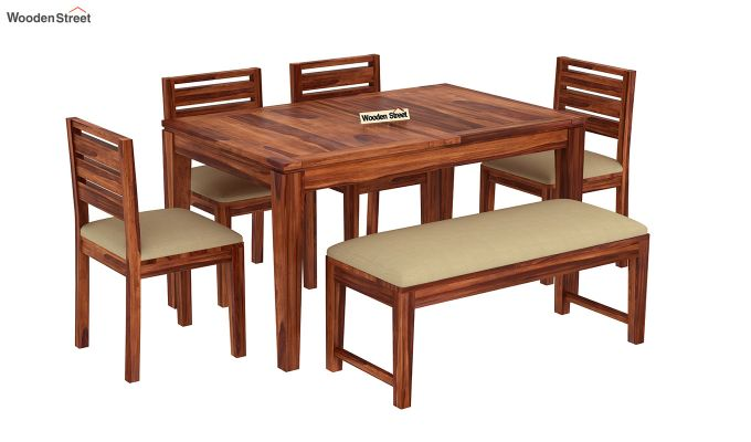Advin 6 Seater Extendable With Bench Dining Set (Honey Finish)-4