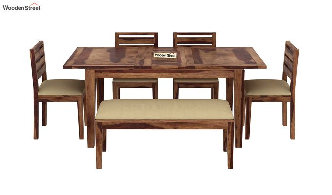 Advin 6 Seater Extendable With Bench Dining Set (Teak Finish)-3