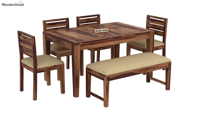 Advin 6 Seater Extendable With Bench Dining Set (Teak Finish)-4