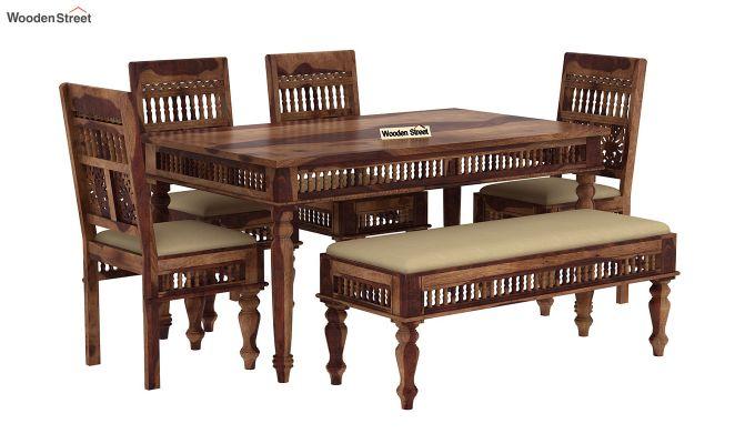Alanis 6 Seater Dining Set with Bench (Teak Finish)-2