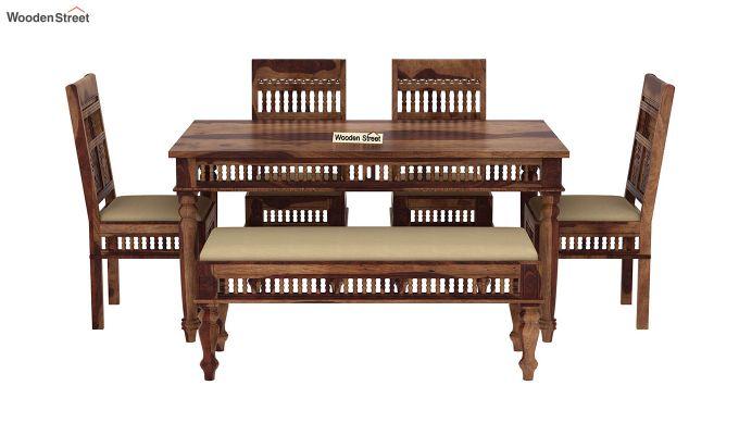 Alanis 6 Seater Dining Set with Bench (Teak Finish)-3