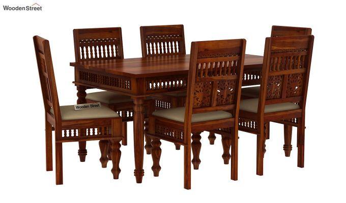 Alanis 6 Seater Dining Set (Honey Finish)-2