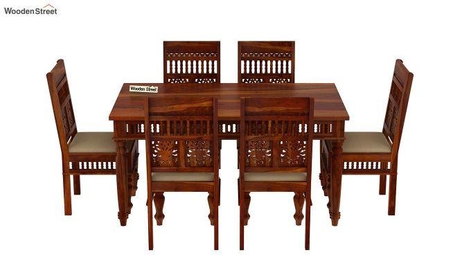 Alanis 6 Seater Dining Set (Honey Finish)-3