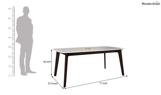 Amoha 6 Seater Marble Top Dining Set (Walnut Finish)-10