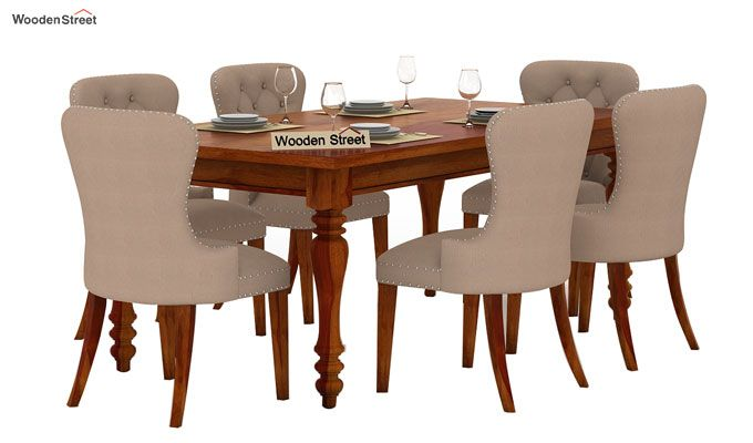 Amora 6 Seater Dinning Set (Honey Finish)-1