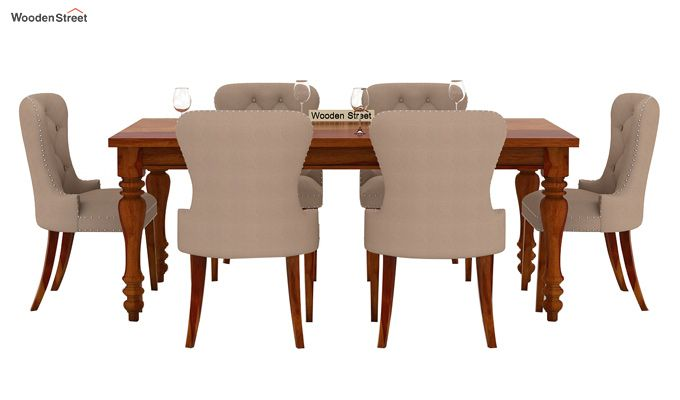 Amora 6 Seater Dinning Set (Honey Finish)-2