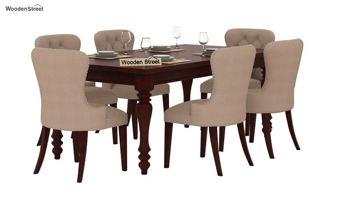 Amora 6 Seater Dinning Set (Mahogany Finish)-1