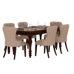Amora 6 Seater Dinning Set (Mahogany Finish)