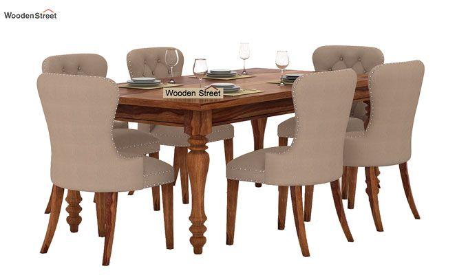 Amora 6 Seater Dinning Set (Teak Finish)-1