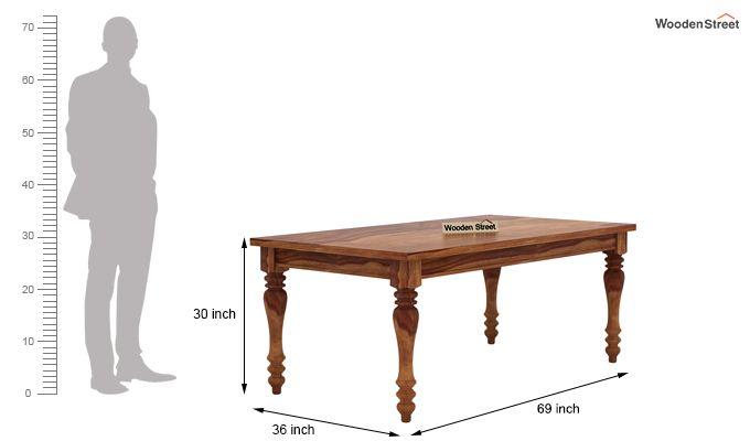 Amora 6 Seater Dinning Set (Teak Finish)-8