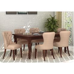 Amora 6 Seater Dinning Set (Walnut Finish)